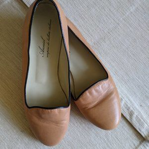 Anniel Italian leather loafers, tan, soft, size 39